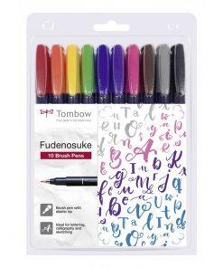 Tombow Fudenosuke Brush Pen 10 Colours Set