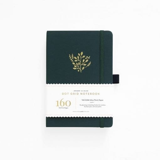 Archer and Olive Deep Green A5 Dot Grid Notebook_1