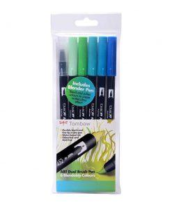 Tombow ABT Dual Brish Pen Ocean Colours Set of 6