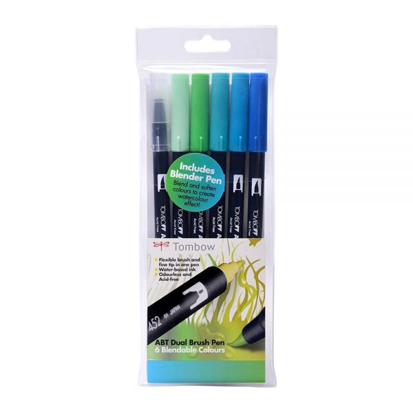 Tombow ABT Dual Brish Pen Ocean Colours Set of 6