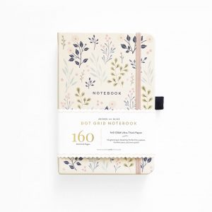 A5 Archer and Olive Pink Flowers Dot Grid Notebook