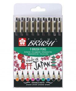 sakura pigma brush pen set 9