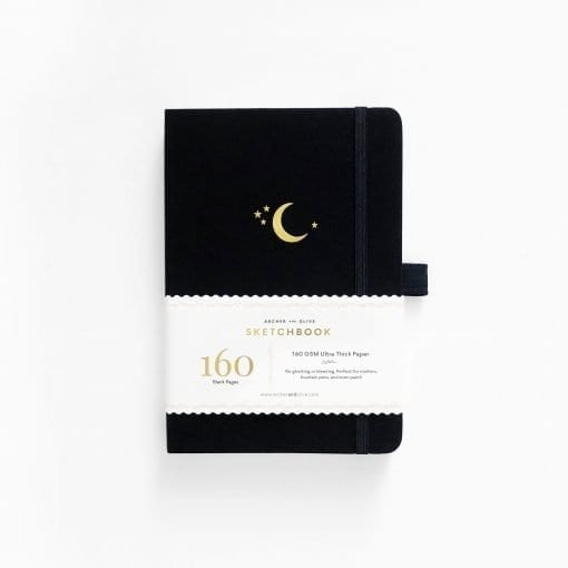 A5 Archer & Olive Crescent Moon Sketchbook - Blank Pages Notebook