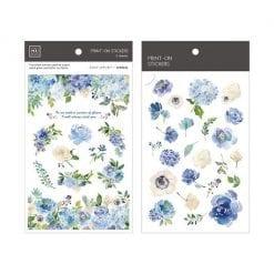 MU Print-On Stickers - Blue Flowers