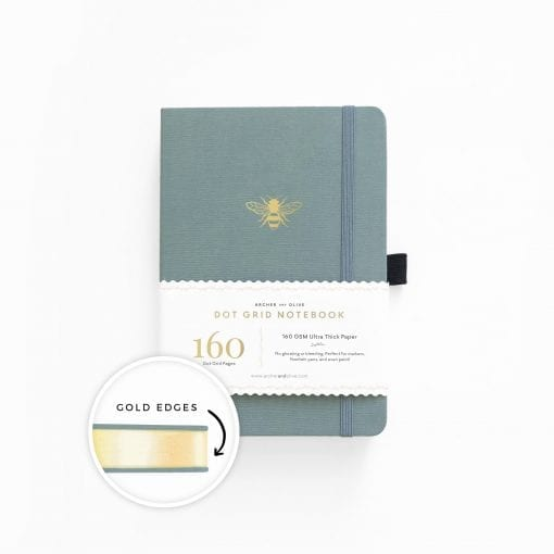 A5 Archer & Olive Vintage Bee Dot Grid Notebook with Gold Gilded Edges