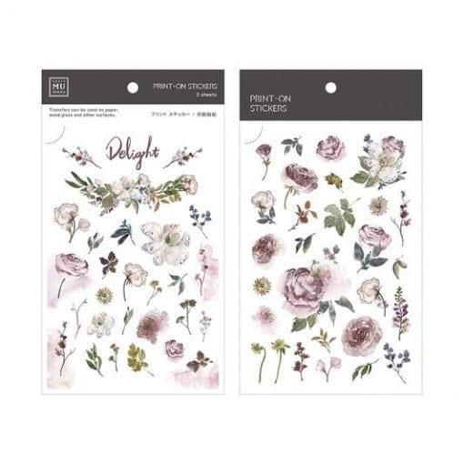 MU Print-On Stickers - Purple Flowers