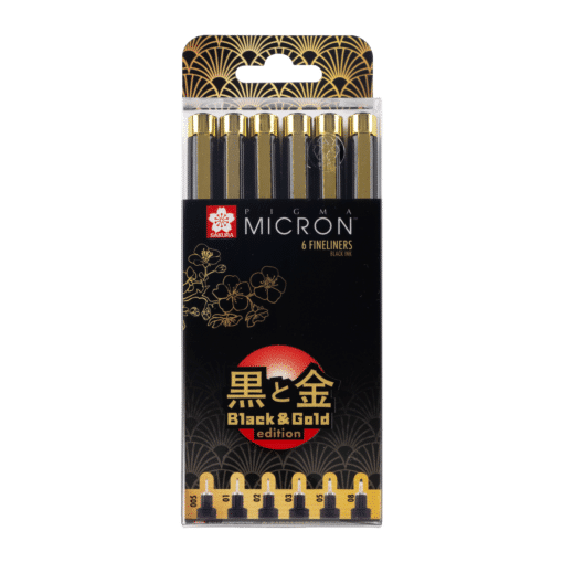 Sakura Pigma Black and Gold Limited Edition Set of 6