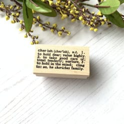 "Catslife Press Rubber Stamp - Dictionary ""Cherish"""
