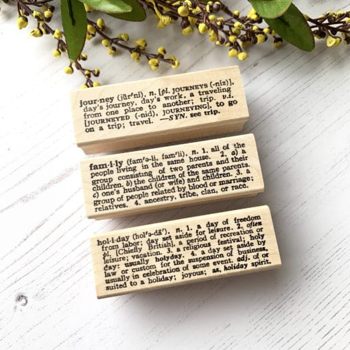 """Catslife Press Rubber Stamp - Dictionary """"Journal"""" """"Family"""" """"Holiday"""""""