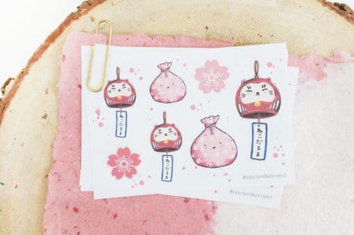 Black Milk Project Stickers - Neko Daruma