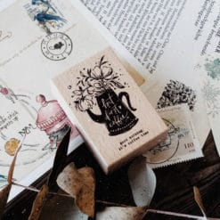 Meow Illustration Botanic Stamp - But First Coffee