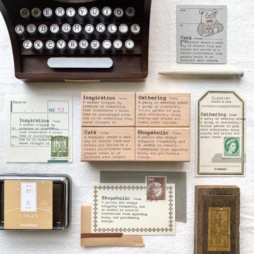 Liberty.hk Rubber Stamps, Dictionary Series - Shopaholic, Café, Inspiration, Gathering